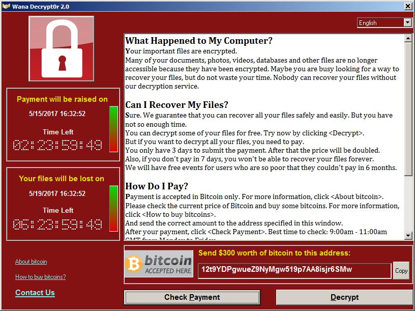 Figure 1. Screenshot of WannaCry Infected Computer.