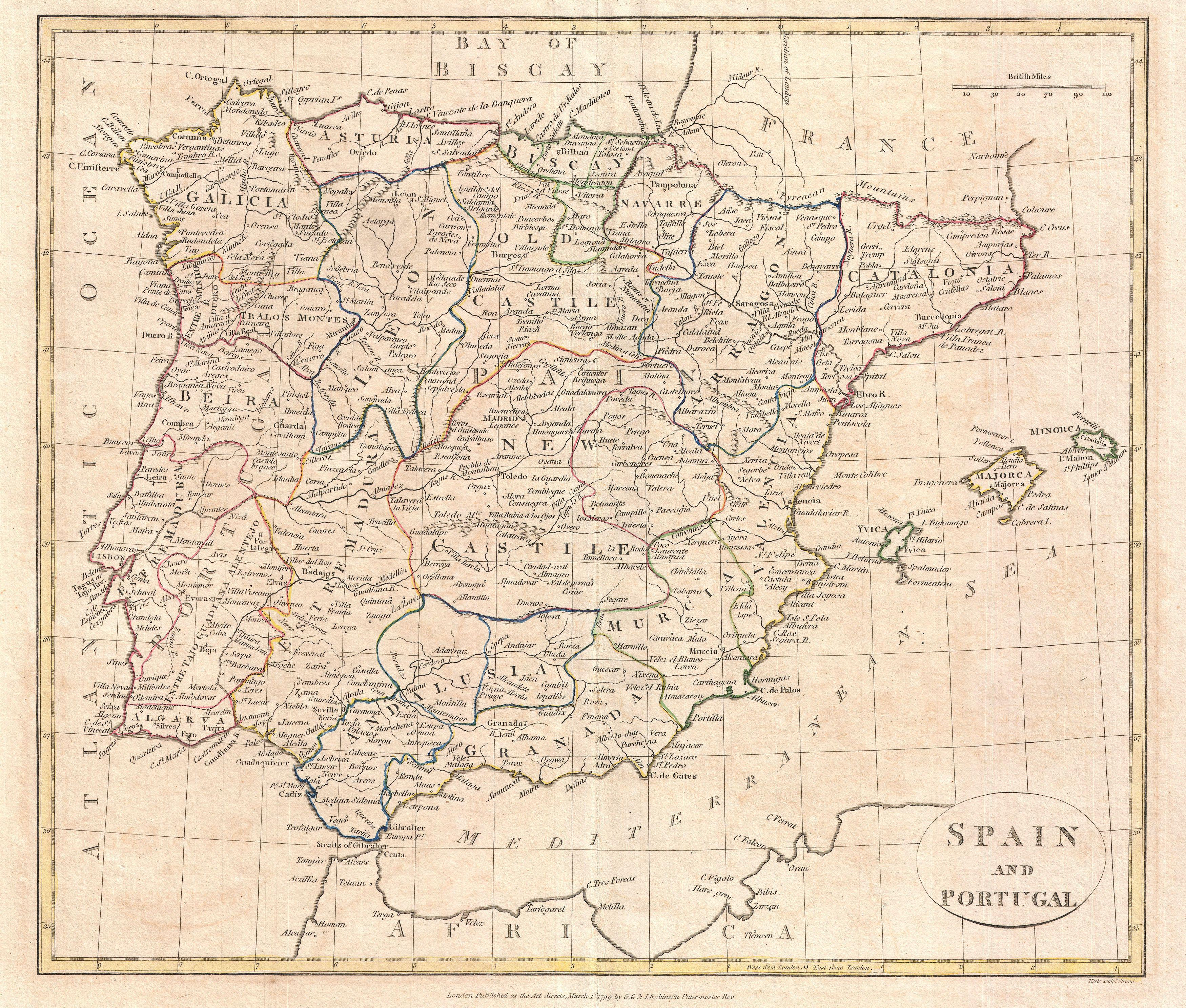 Map 24 Spain.File 1799 Clement Cruttwell Map Of Spain And Portugal Geographicus