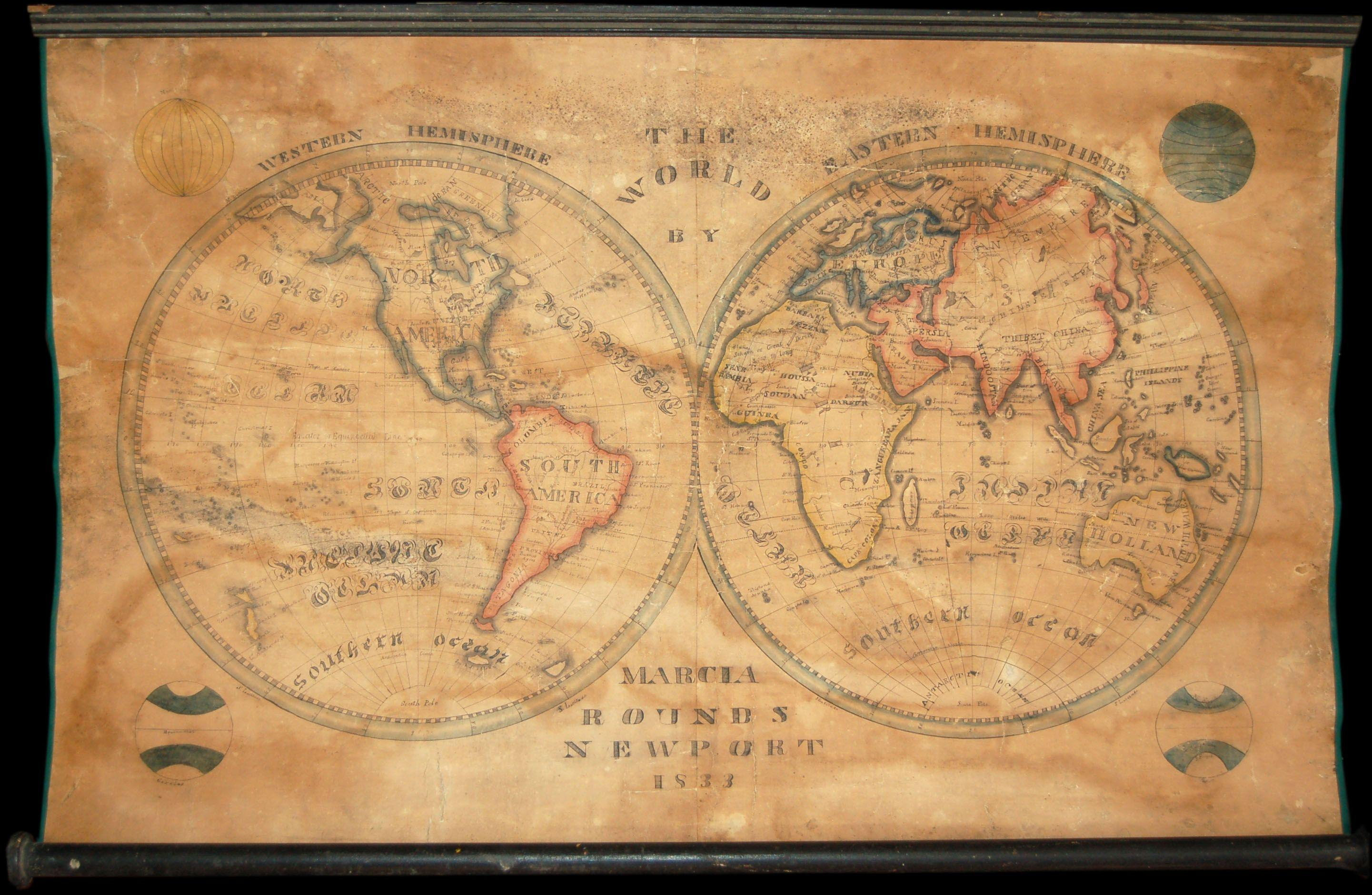File1833 School Girl Manuscript Wall Map of the World on