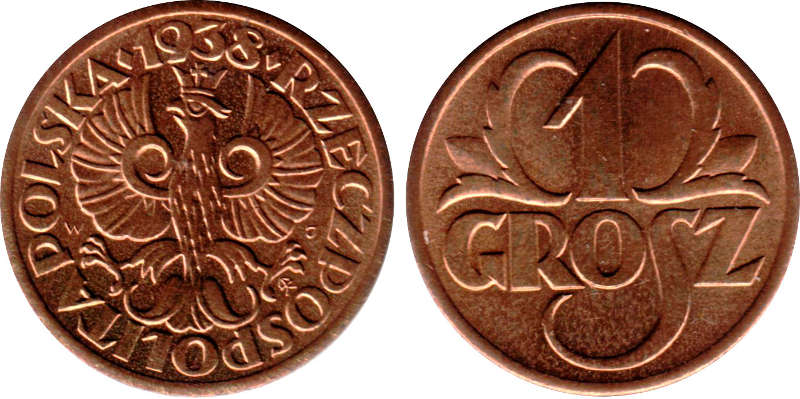 an older 1 grosz coin