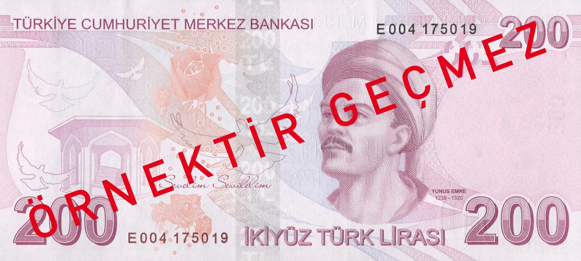 200 турецких лир