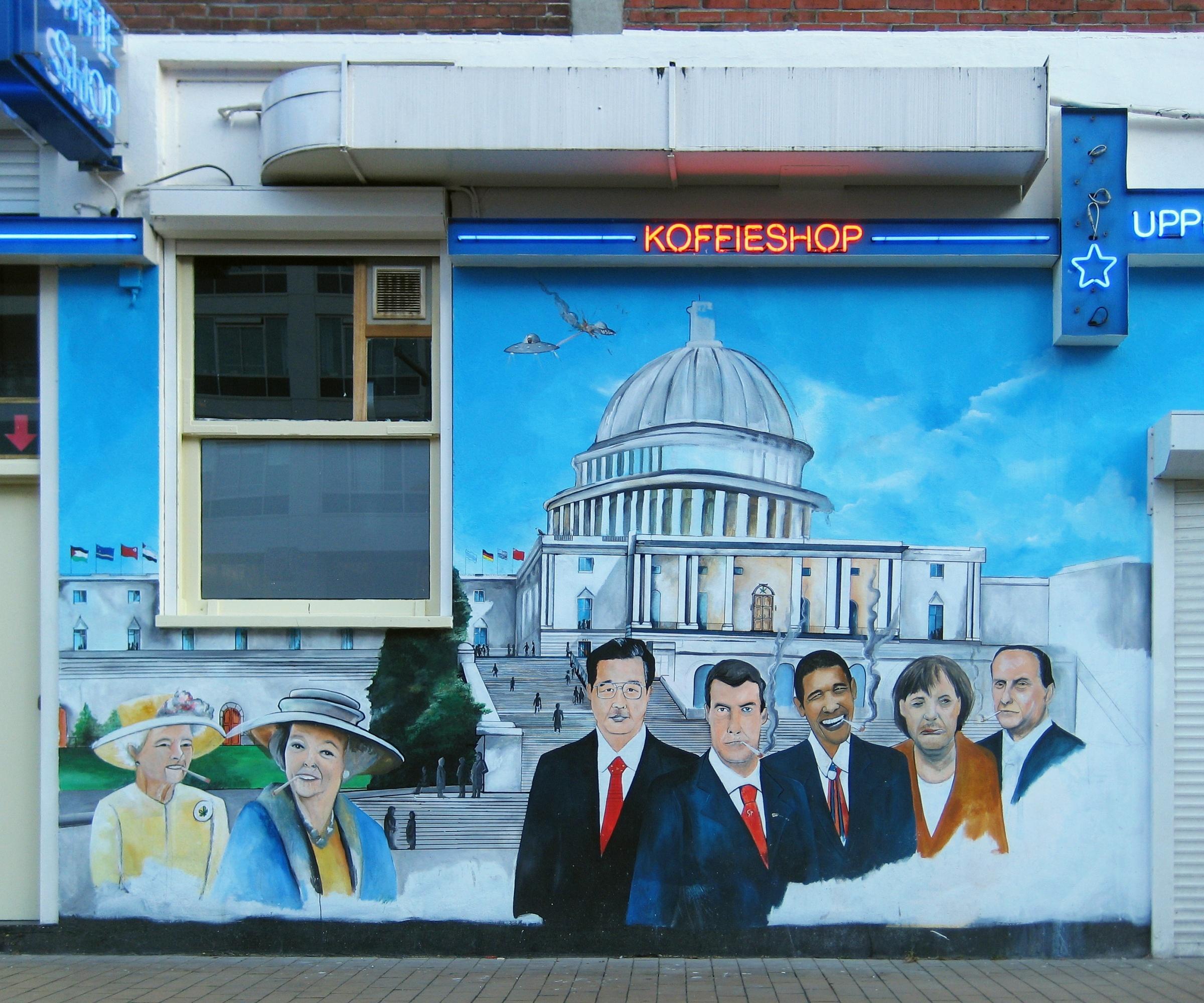 Exterior wall of a coffeeshop in the Dutch city of Groningen. Depicted are Queen Elizabeth II, Queen Beatrix, Hu Jintao, Dmitry Medvedev, Barack Obama, ...