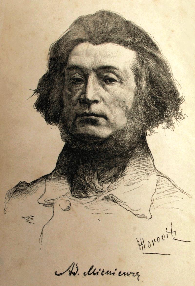 Adam Mickiewicz | Portrait, from book Poezye ADAMA MICKIEWICZA. Warszawa. Ksiegarnia Gebethnera i Wolfa. 1888