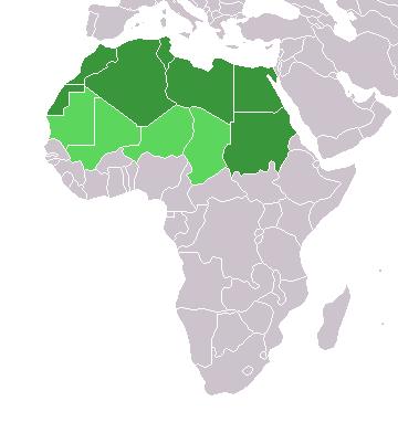 Mapa da �frica com os pa�ses setentrionais destacados