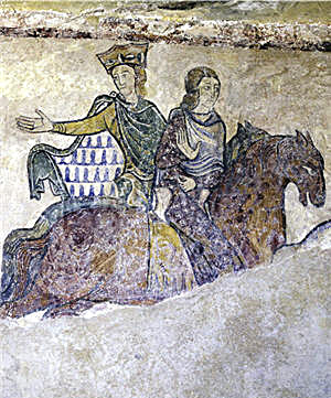 A 12th- or 13th-century wall painting in the Chapelle Sainte-Radegonde de Chinon in Chinon, France - possibly depicting the imprisonment of Eleanor and her daughter Joan in 1174. Alienor-d-aquitaine et jean sans terre.jpg