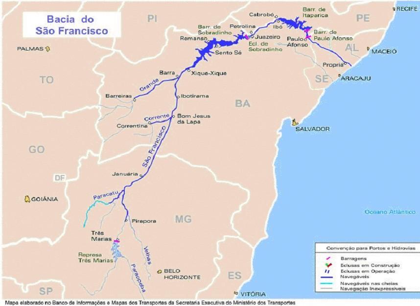 Verlauf des Rio São Francisco