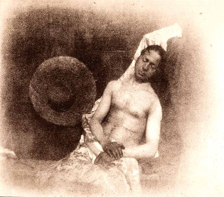 Self-Portrait as a Drowned Man, 1840, by Hippolyte Bayard, Direct positive print, courtesy of Wikime