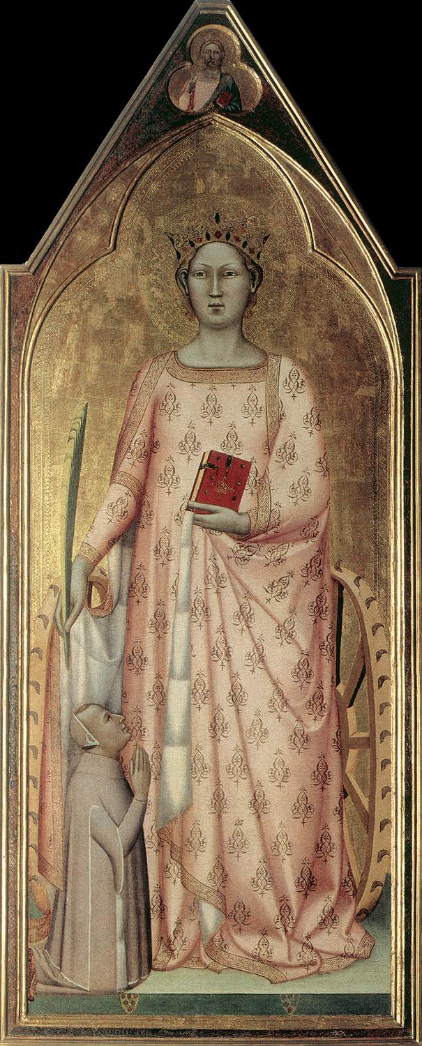 https://upload.wikimedia.org/wikipedia/commons/4/4f/Bernardo_Daddi_-_St_Catherine_of_Alexandria_with_Donor_and_Christ_Blessing_-_WGA05852.jpg