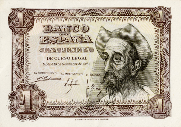 Monedas y Billetes del mundo-http://upload.wikimedia.org/wikipedia/commons/4/4f/Billete_de_1_peseta_del_Banco_de_Espa%C3%B1a,_1951_(Anverso).jpg