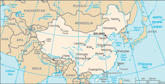 CIA World Fact Book China Wikisource The Free Online Library - Physical map of china 2004