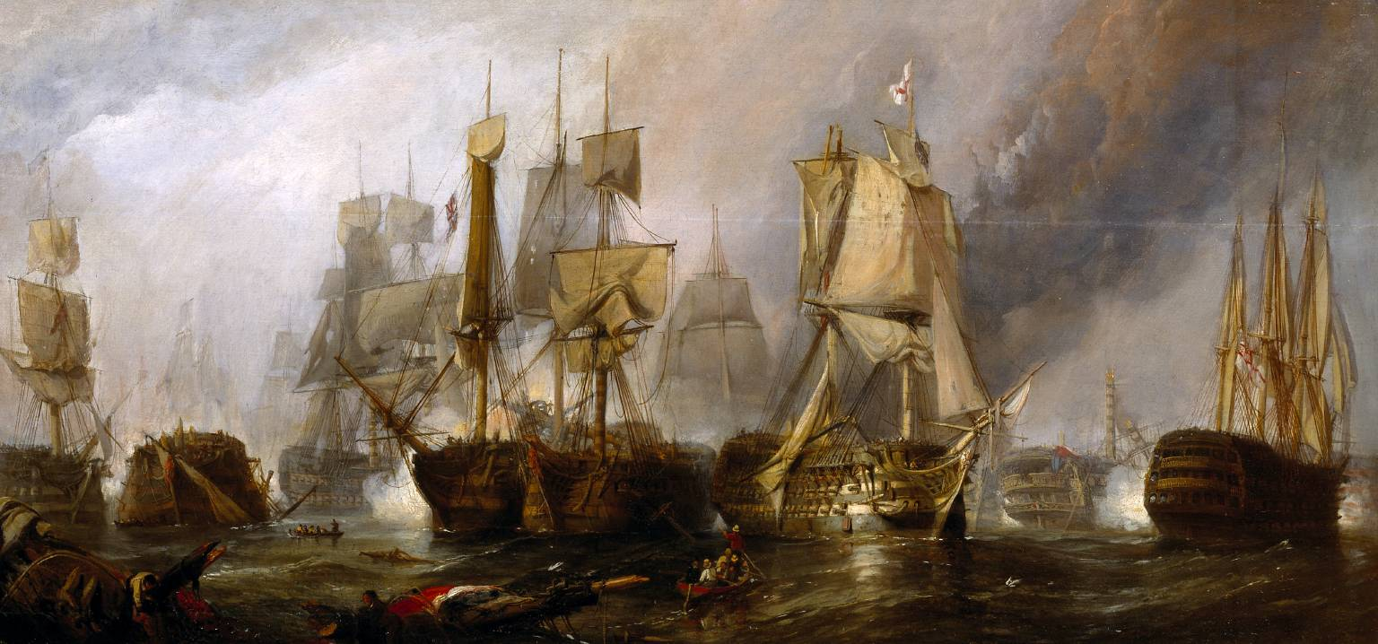 El navio de tres puentes en la Armada Clarkson_Frederick_Stanfield_-_The_Battle_of_Trafalgar,_and_the_Victory_of_Lord_Nelson_over_the_Combined_French_and_Spanish_Fleets,_October_21,_1805_%28Sketch,_1833%29
