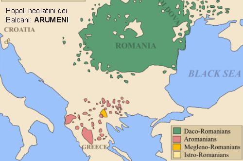Mappa dei Balcani abitati dai Rumeni (verde) ed Arumeni (Macedorumeni:viola; Meglenorumeni:arancione; Istrorumeni:giallo)