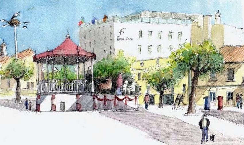 File:Croquis aquarellé- Faro, décoration de Noël - Portugal ...