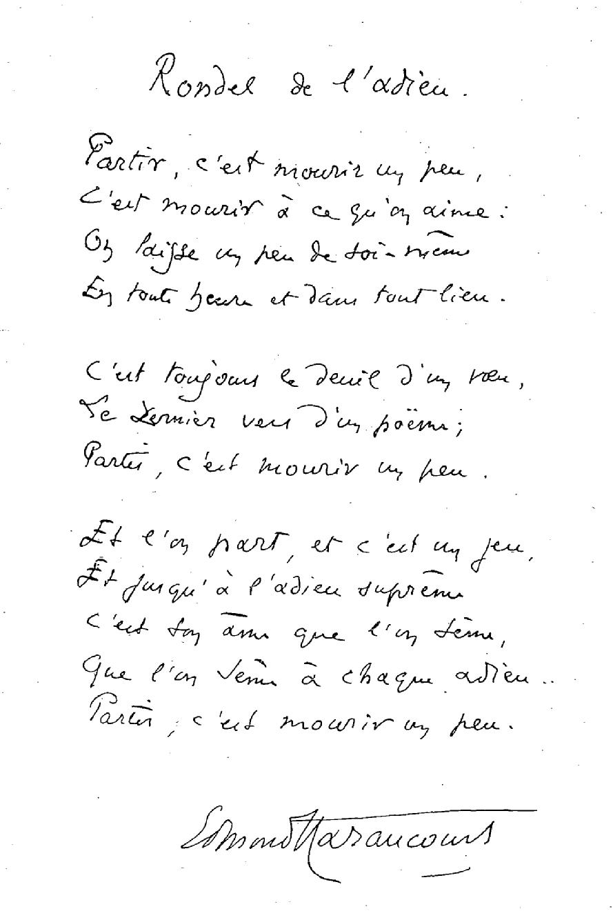 Manuscrito del poema <em>Rondel de l'adieu</em>.