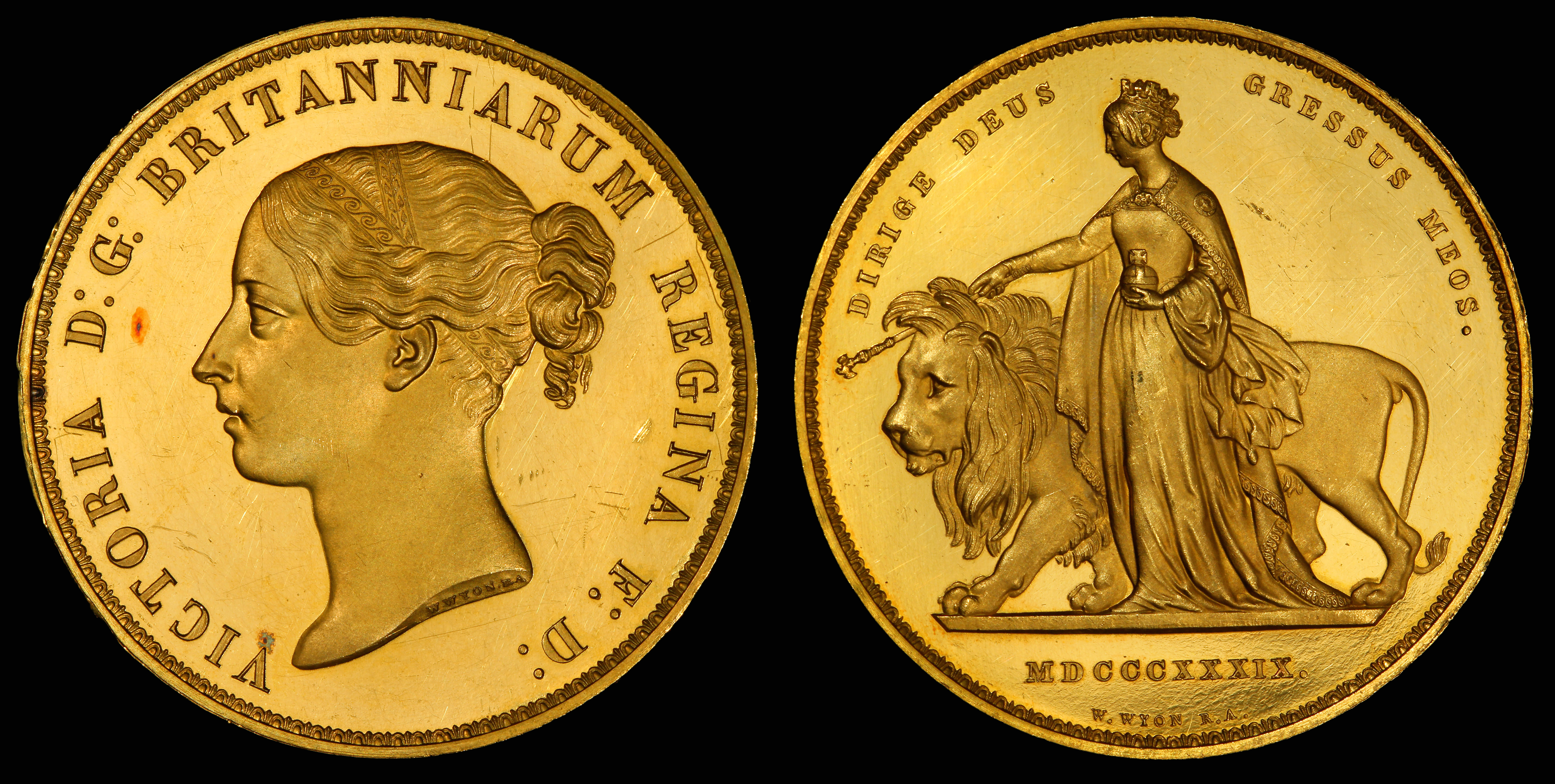 File:England (UK) 1839 5 Pounds (Una and the Lion).