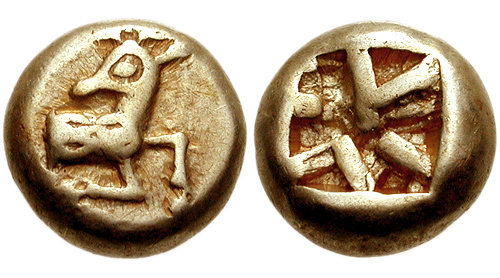 One of the earliest electrum coins struck in Ephesus, 620-600 BC. Obverse: Forepart of stag. Reverse: Square incuse punch. Ephesos 620-600 BC.jpg