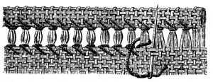 Illustration for section x3 in Encyclopedia of Needlework. Fig. 57 Ladder Hem-stitch