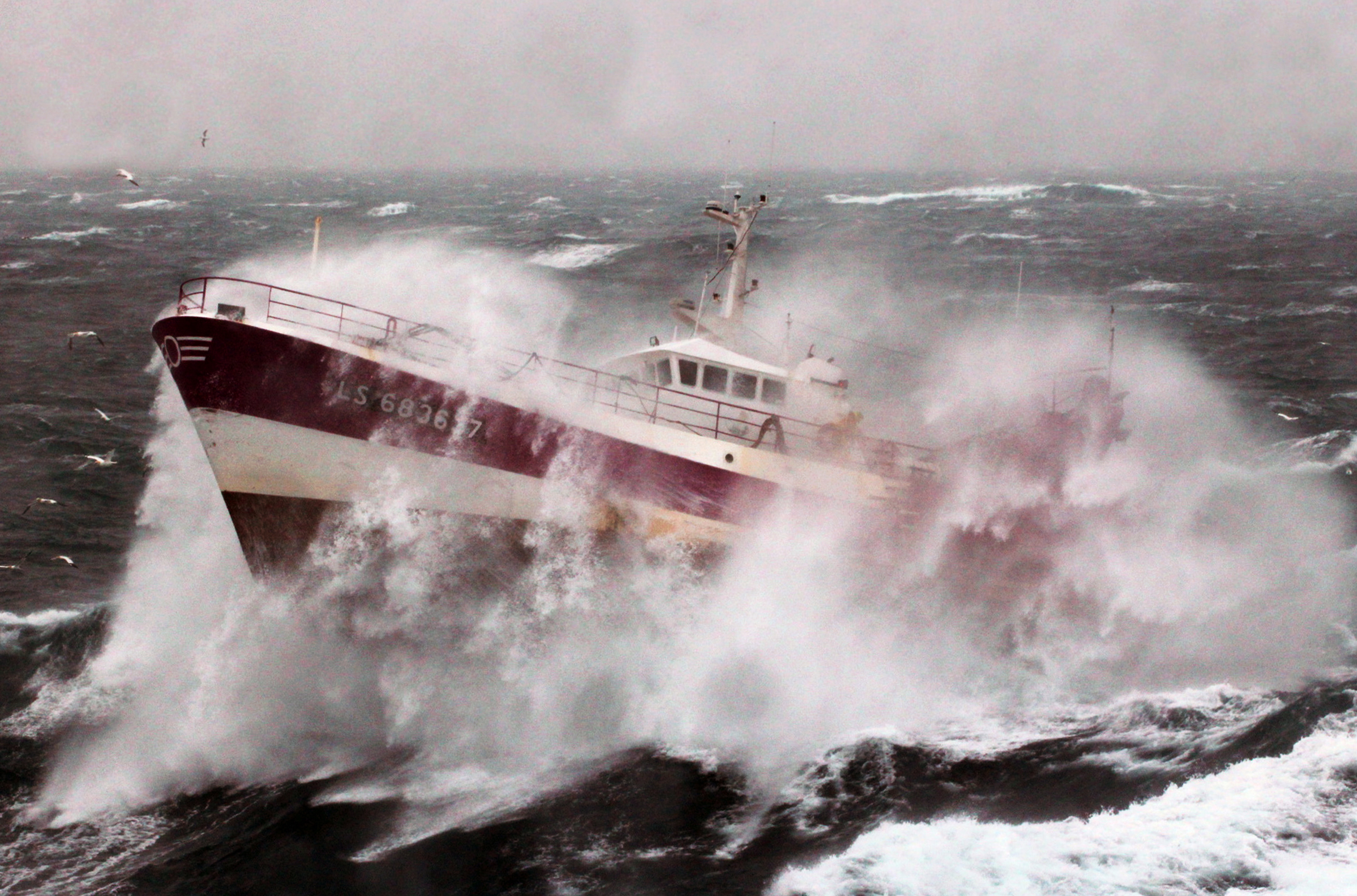 French fishing vessel 39 alf 39 during a storm in the irish for Commercial deep sea fishing boats for sale