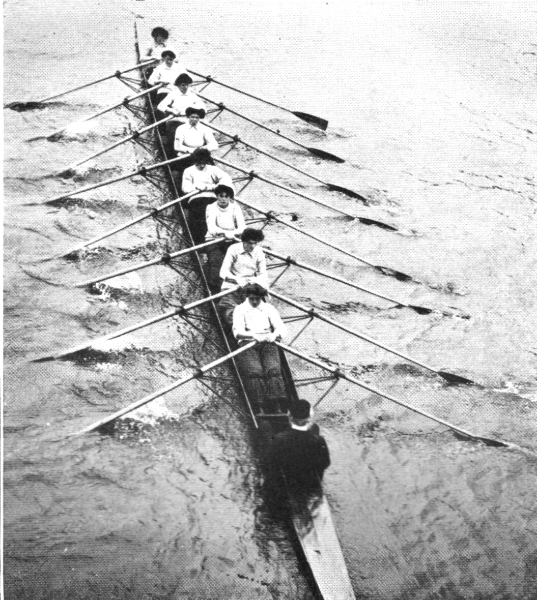 F. J. Furnivall coxing the girls of the Hammersmith Sculling Club in 1907
