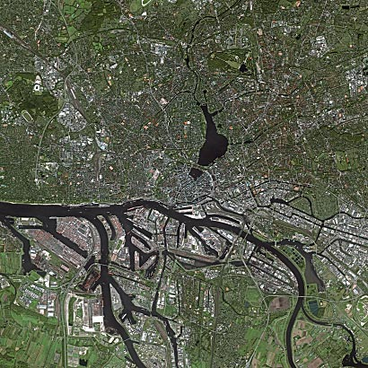 Hamburg from above - foto Wikipedia - Cnes - Spot Image