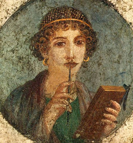 Image of poet Sappho, from Pompeii