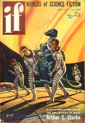 Couverture d'un magazine de science-fiction avec Jupiter immense dans le ciel. Image du domaine publique.