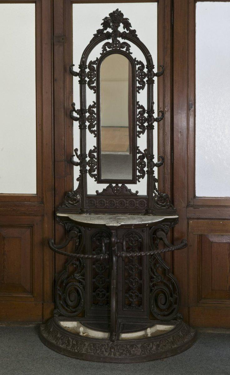File interieur gietijzeren kapstok met spiegel op de gang van de bel tage groningen - Spiegel voor de gang ...