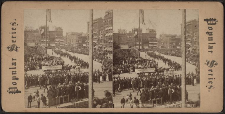 Labor Day Parade, Union Square, New York, 1887, from Robert N. Dennis collection of stereoscopic views