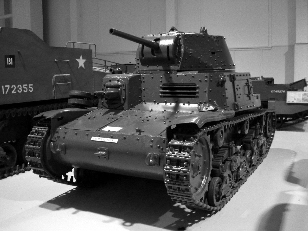 Carro ligero Italina M13/40 en el Museo Militar Base Borden. Fuente: Wikipedia.