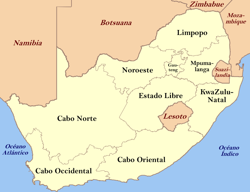 south africa map in spanish
