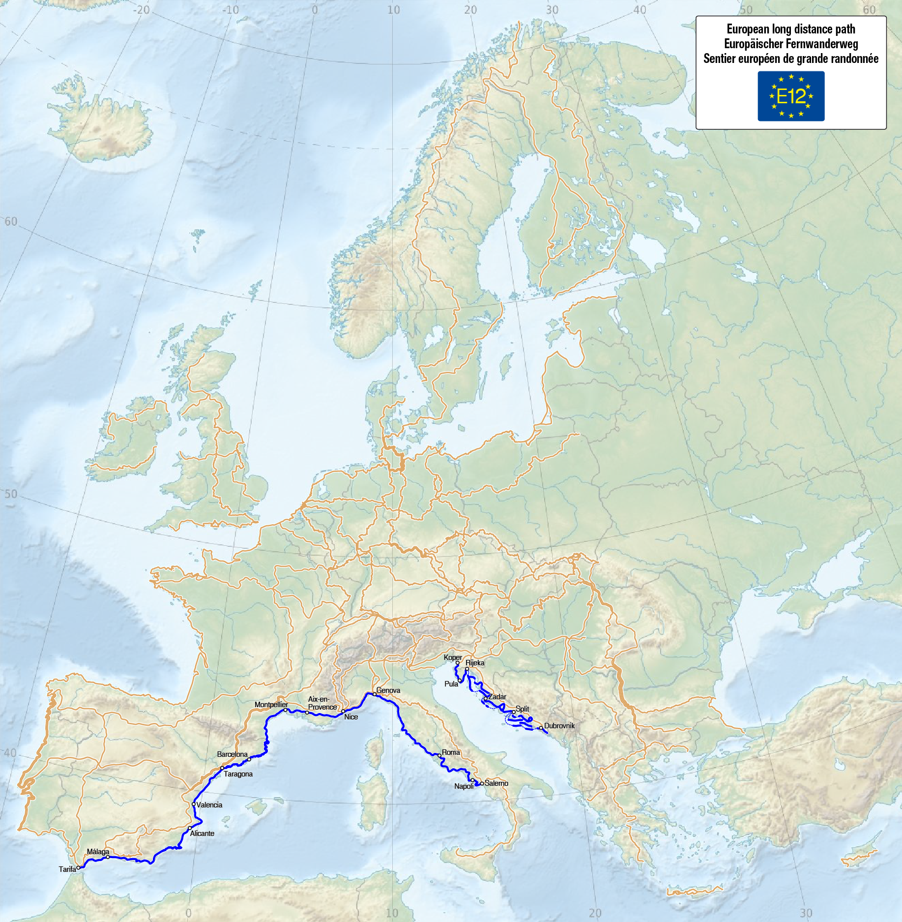 Datei:Map of the European Long Distance Path E12.png – Wikipedia on