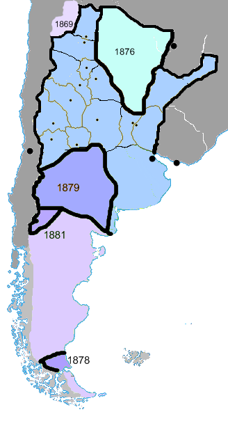 The Conquest of the Desert extended Argentine power into Patagonia. Mapa ARGENTINA 1881.png