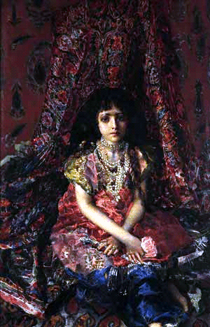 «Девочка на фоне персидского ковра». 1886, Киевский музей русского искусства