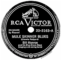 "Singeln ""Mule Skinner Blues"" med Bill Monroe & his Bluegrass Boys från 1939"