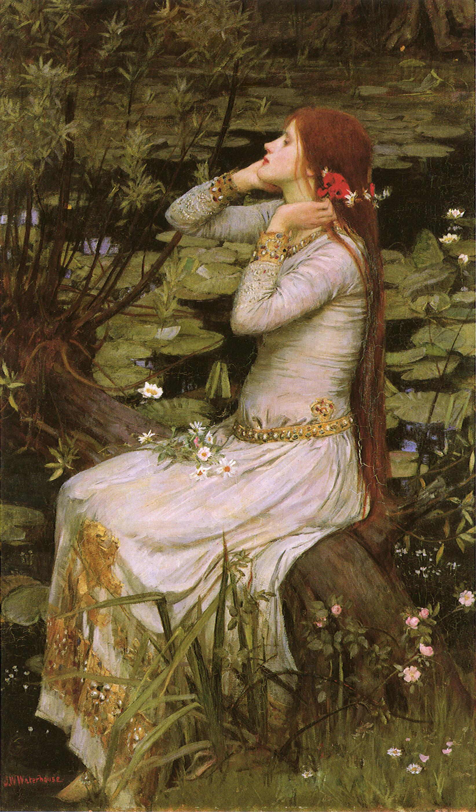 Artwork; red haired woman beside lily covered river