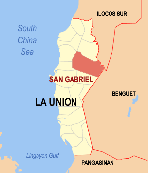 Map of La Union showing the location of San Gabriel