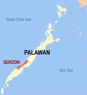 Map of Palawan showing the location of Quezon