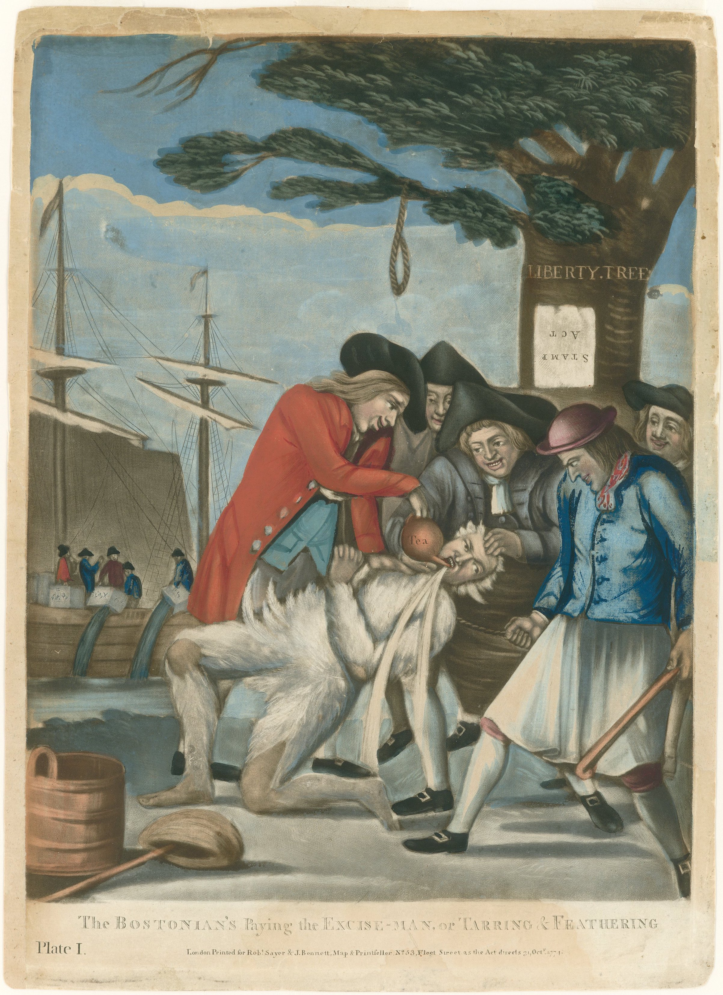 The Bostonian Paying the Excise-Man, 1774 British propaganda print referring to the tarring and feathering of Boston Commissioner of Customs John Malcolm four weeks after the Boston Tea Party. The men also poured hot tea down Malcolm's throat, as can be seen. Note the noose hanging on the Liberty Tree, and the Stamp Act posted upside-down