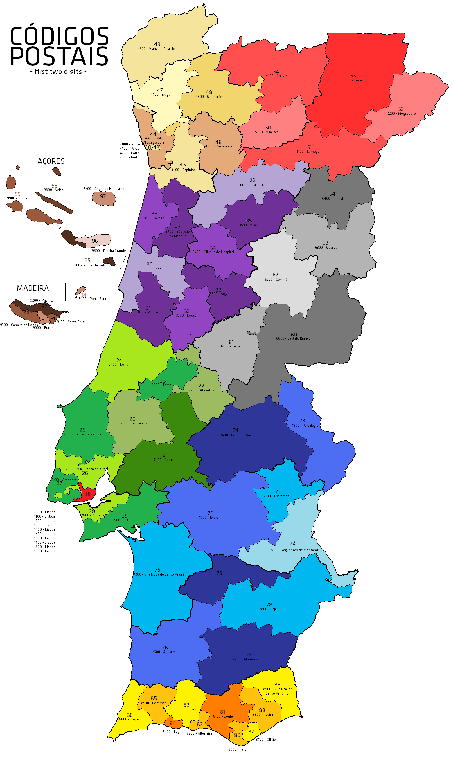 Postal Codes In Portugal Wikiwand - Portugal estremadura map