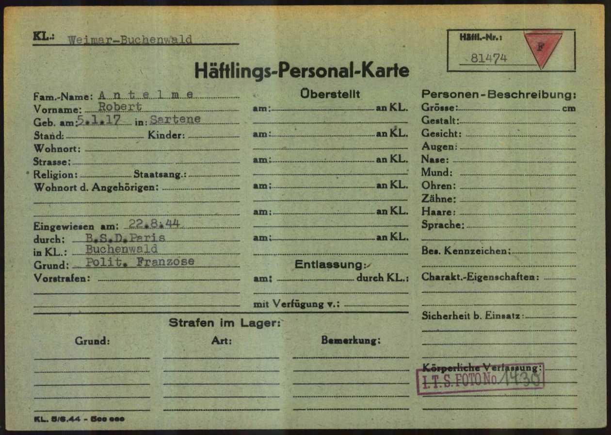 Registration card of Robert Antelme as a prisoner at Buchenwald Nazi Concentration Camp