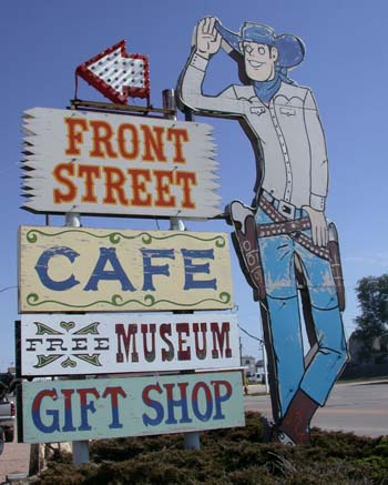 "Sign for ""Front Street"" a popular Old West-themed tourist attraction in Ogallala"