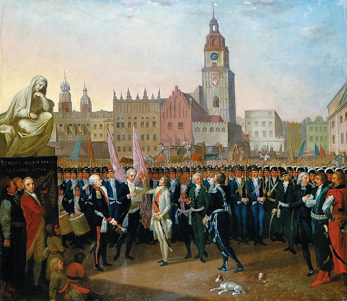 Kosciuszko prête serment de redonner son indépendance à la Pologne sur la place du marché de Cracovie - Toile de Franciszek Smuglewicz