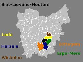Flandre-Orientale, en couleur les communes du basin du Molenbeek.