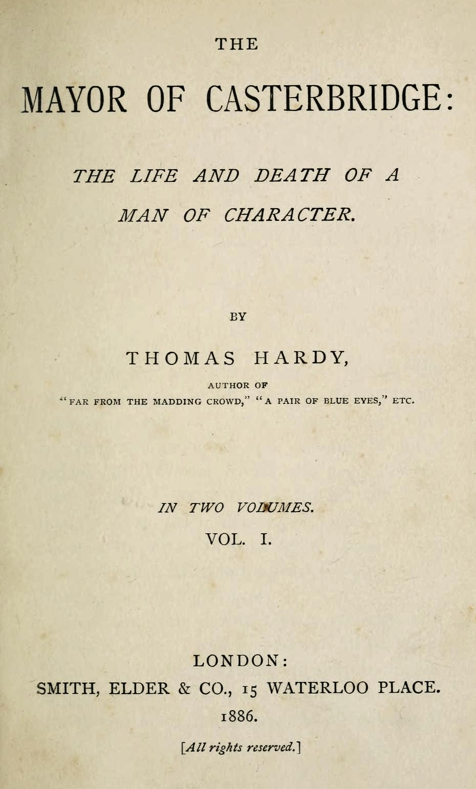 character analysis of elizabeth jane in the mayor of casterbridge by thomas hardy Elizabeth-jane, tempered in poverty  the mayor of casterbridge thomas hardy share home literature notes  character analysis elizabeth-jane.