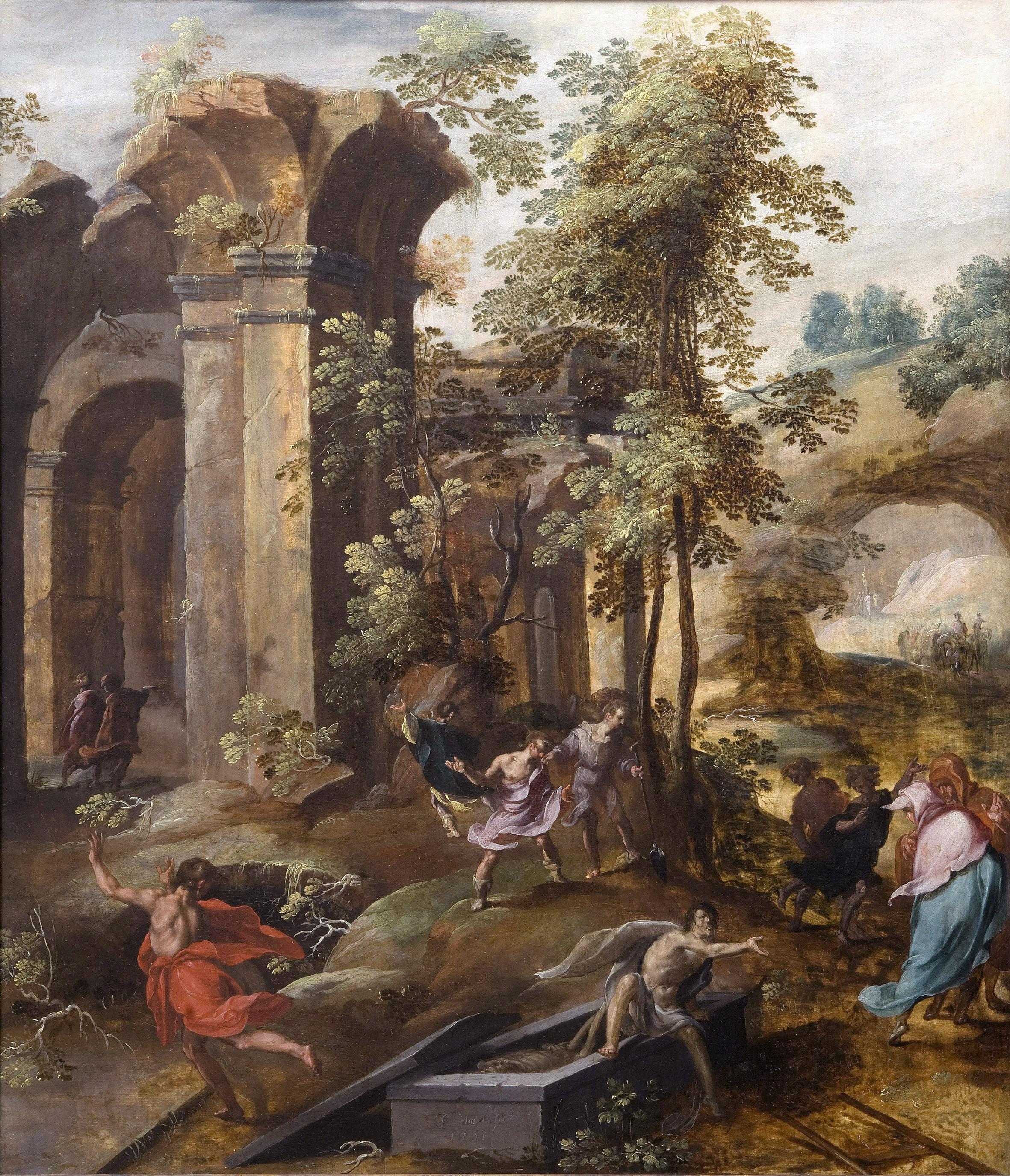 The miracle at the grave of Elisha. (Jan Nagel, 1596)