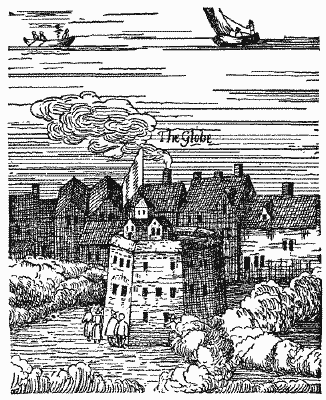 The Rose - mislabeled The Globe - from Visscher's View of London 1616