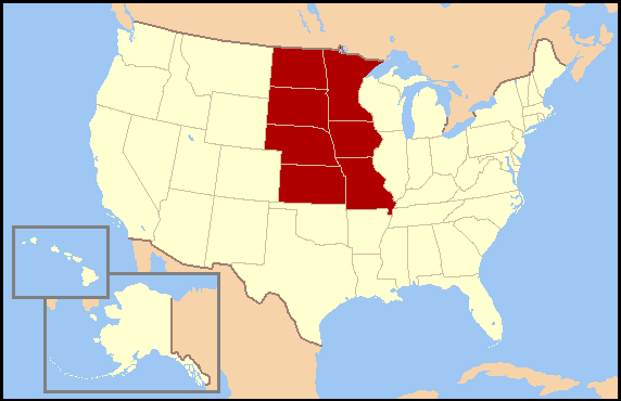West North Central States Wikipedia - Us map midwest states