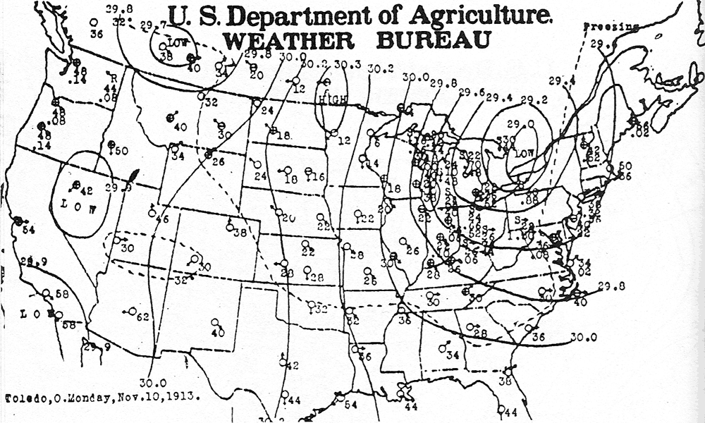 Us Weather Map Isobars File:US weather map, 10 Nov 1913.png   Wikimedia Commons