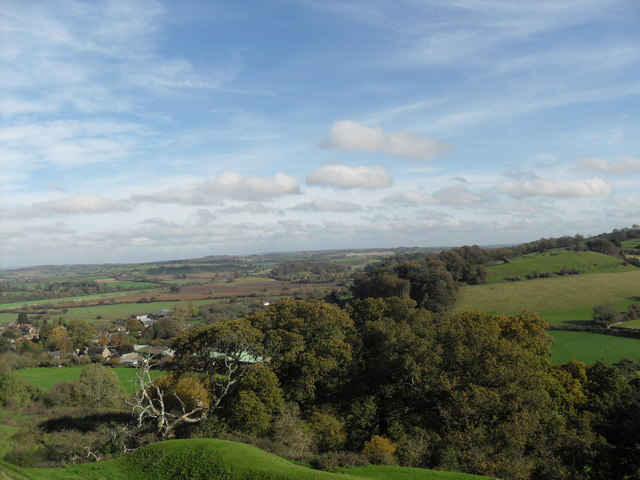 View over South Cadbury from Cadbury Castle. - geograph.org.uk - 1557670