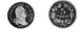"A coin design; on one side is a classic head of a man (George Washington) with ""United States of America"" and an 1866 date; the other side shows a wreath with a Roman numeral V in the middle."